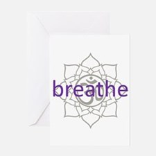 breathe Om Lotus Blossom Greeting Card