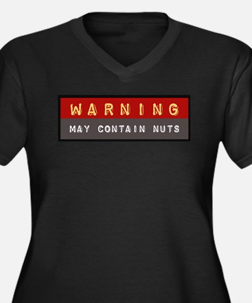 May Contain Nuts   Women's Plus Size V-Neck Dark T