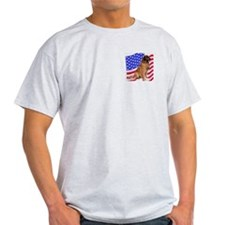 leonberger with Flag Ash Grey T-Shirt