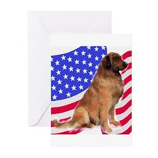 leonberger with Flag Greeting Cards (Pk of 10)