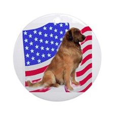 leonberger with Flag Ornament (Round)