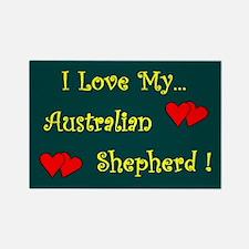 I Love My Australian Shepherd Rectangle Magnet