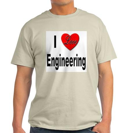 I Love Engineering (Front) Ash Grey T-Shirt