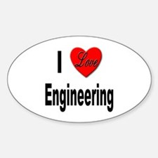 I Love Engineering Oval Decal