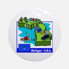 Michigan Map Ornament (Round)