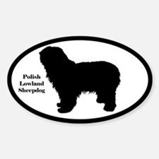 Polish Lowland Sheepdog Silhouette Oval Decal