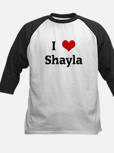 I Love Shayla Kids Baseball Jersey