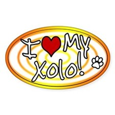 Hypno I Love My Xolo Oval Sticker Sunburst