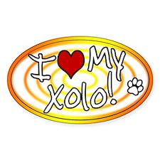 Hypno I Love My Xolo Oval Sticker Sunburst