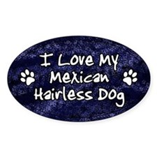 Funky Love Mexican Hairless Dog Oval Decal