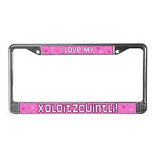 Pink Polka Dot Xoloitzcuintli License Plate Frame