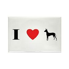 I Heart Xoloitzcuintli Rectangle Magnet