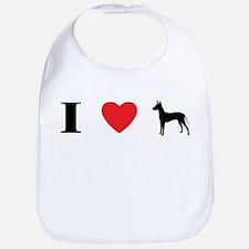 I Heart Xoloitzcuintli Bib