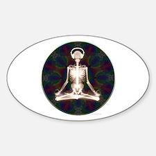 Skeleton Yoga Oval Decal