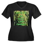 Get ECO Green Women's Plus Size V-Neck Dark T-Shir