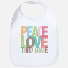 Peace Love Third Grade Bib