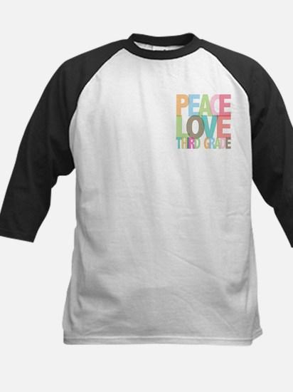 Peace Love Third Grade Kids Baseball Jersey