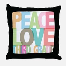 Peace Love Third Grade Throw Pillow