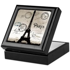 Eiffel Tower Sepia Postcard Keepsake Box
