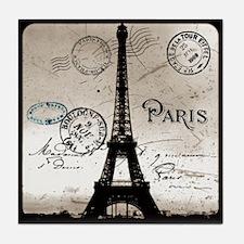 Eiffel Tower Sepia Postcard Tile Coaster