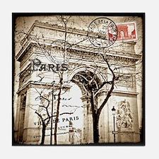 Arc de Triomphe Sepia Postcard Tile Coaster