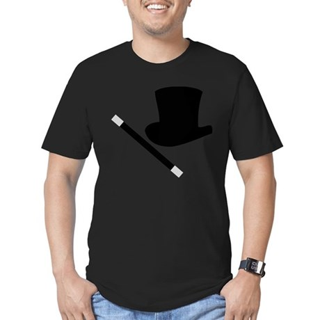Magic Top Hat and Wand Men's Fitted T-Shirt (dark)