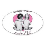 grandma of twins Sticker (Oval 50 pk)