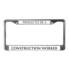 Proud Construction Worker License Plate Frame