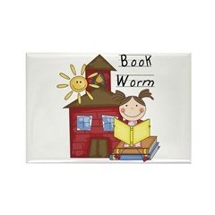 Girl Book Worm Rectangle Magnet (100 pack)