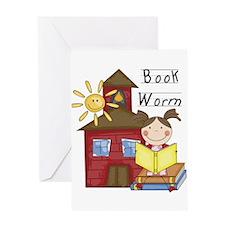 Girl Book Worm Greeting Card