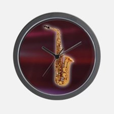 Saxaphone on Red Wall Clock