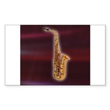 Saxaphone on Red Rectangle Decal