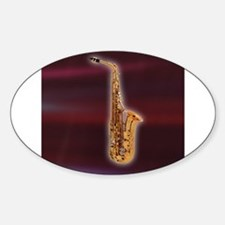 Saxaphone on Red Oval Decal
