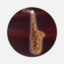 Saxaphone on Red Ornament (Round)