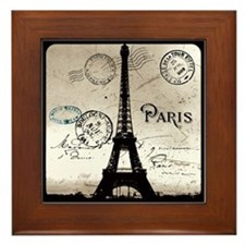 Eiffel Tower Sepia Postcard Framed Tile