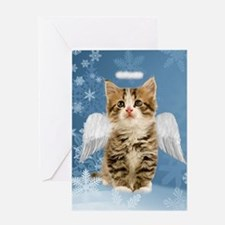 Angel Kitten Christmas Greeting Card