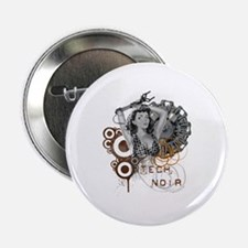 "Tech noir pulp steampunk dame 2.25"" Button"