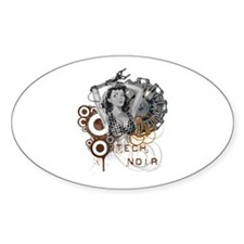 Tech noir pulp steampunk dame Oval Decal