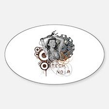 Tech noir pulp steampunk dame Oval Decal