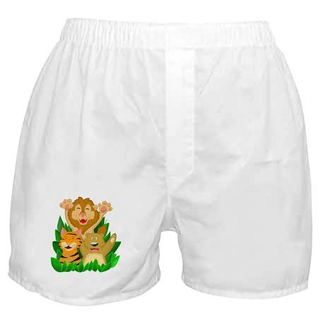 Lion Tiger Bear Cartoon Boxer Shorts