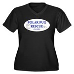 Polar Pug Rescue Logo Women's Plus Size V-Neck Dar