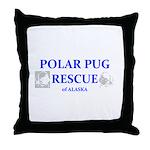 Polar Pug Rescue Logo Throw Pillow