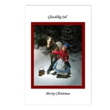 Child & Horse Glaedelig Jul Postcards (Pkg of
