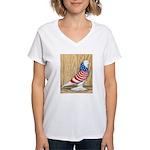 Patriotic West Pigeon2 Women's V-Neck T-Shirt