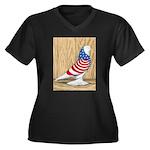 Patriotic West Pigeon2 Women's Plus Size V-Neck Da