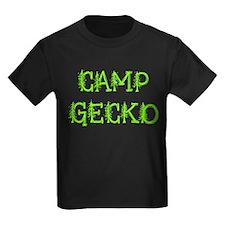 Camp Gecko Trees Kids Black T-Shirt