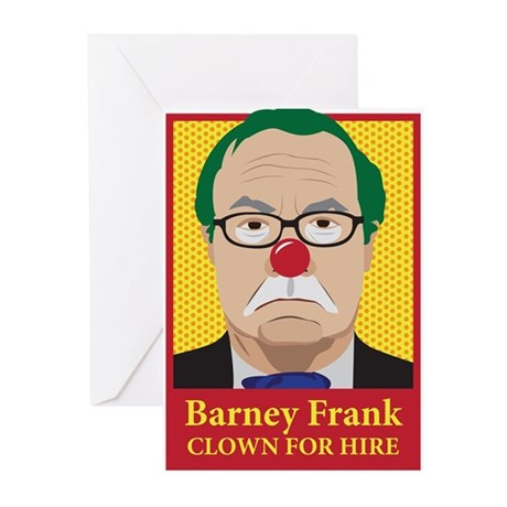 Barney Frank Clown Greeting Cards (Pk of 10)