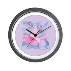 Pink Peace Dove Wall Clock