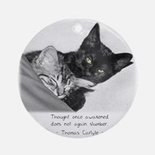 Thinking Cats-And-Quotes Ornament (Round)