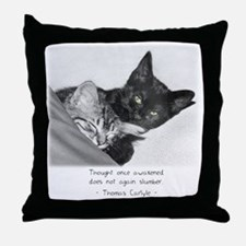 Thinking Cats-And-Quotes Throw Pillow
